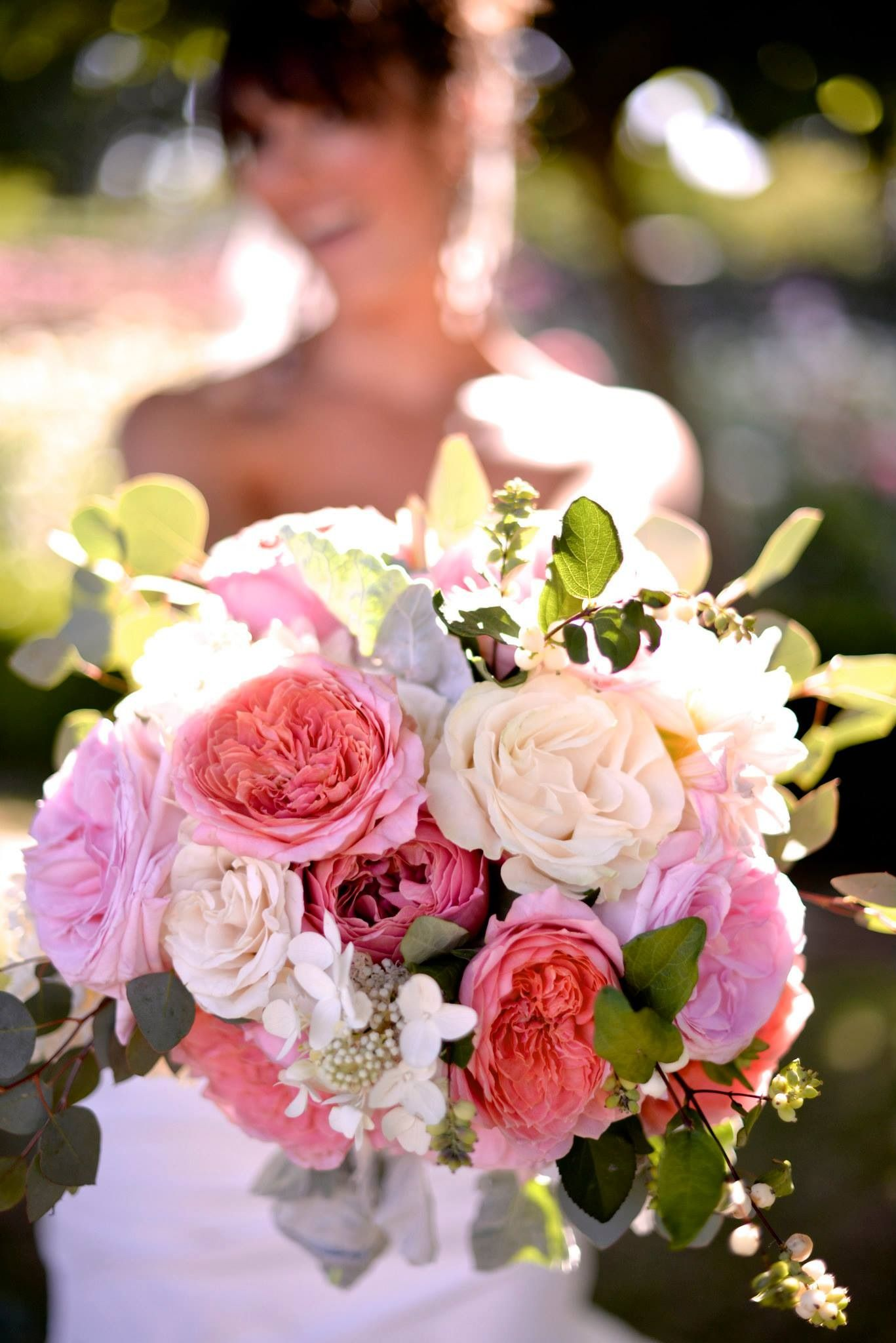 My wedding bouquet from my August wedding. Pink and white roses with ...