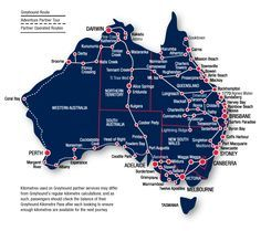 Map of the popular routes traveling around Australia