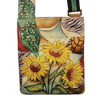 6bb1c27ecbfe5 Anuschka Leather Roomy Slim Cross Body Hand Painted Sling Bag Sunflower  Safari   eBay