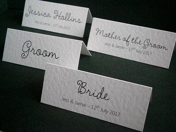 Personalised Wedding Name Place Table Cards Printed Any Font and Colour