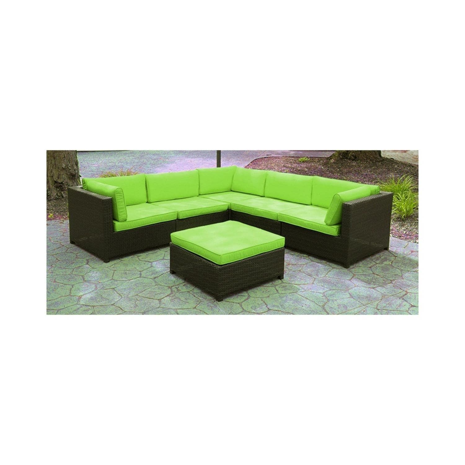 lime green patio furniture. Black Resin Wicker Outdoor Furniture Sectional Sofa Set - Lime Green Cushions, Patio I