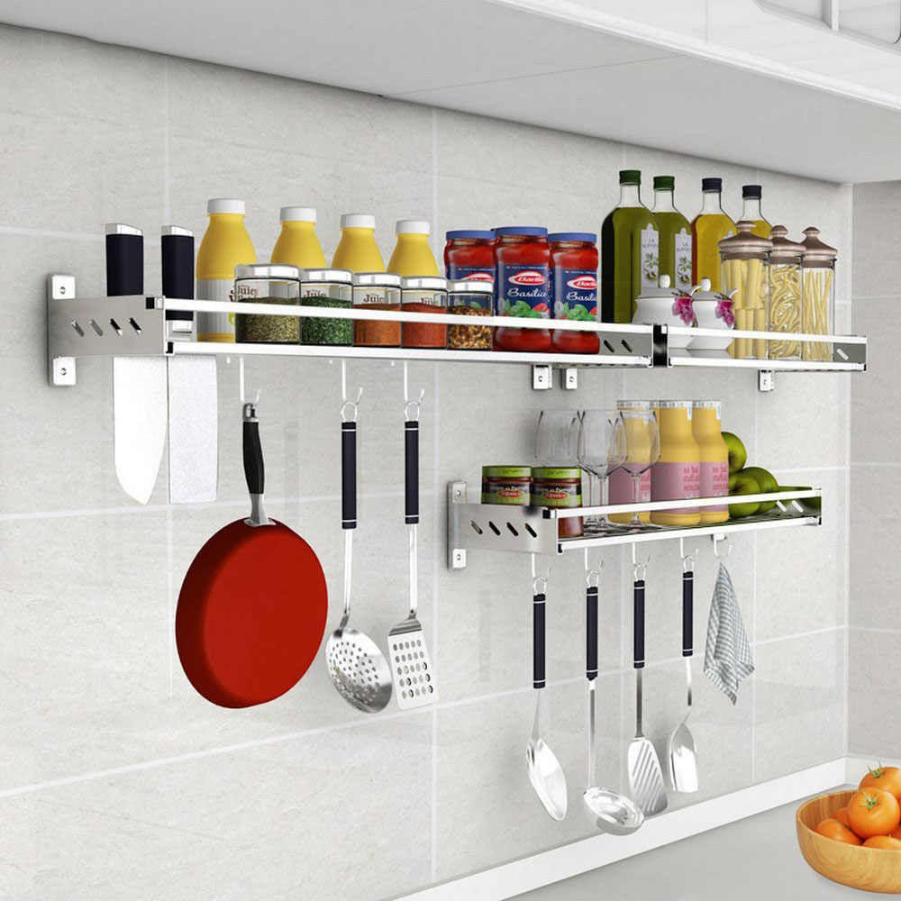Storage Hanging Shelf Kitchen Storage Rack Stainless Steel Pantry Cookware Spice Shelf Punch Free With Pole Household Rack Aliexpress In 2020 Kitchen Storage Rack Hanging Shelf Kitchen Wall Mounted Kitchen Storage