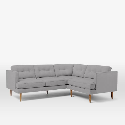 Peggy Mid-Century Set 3: Left Sectional Sofa, Right Arm Chair, Heathered Crosshatch, Feather Gray