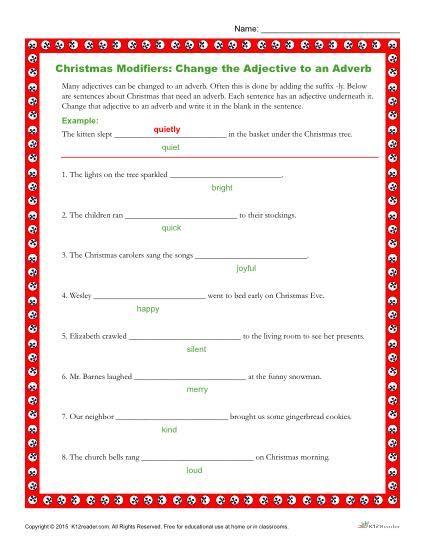 Christmas Modifiers Worksheet Pinterest Adverbs Classroom