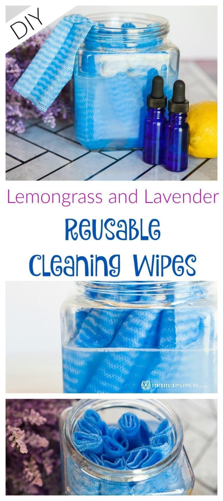 Lemongrass And Lavender Reusable Cleaning Wipes