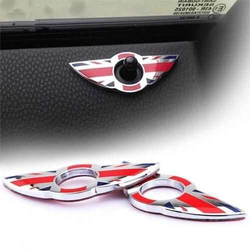 Car Interior Door Pin Lock Wing Emblem Badge Stickers For Mini Cooper R60 R61