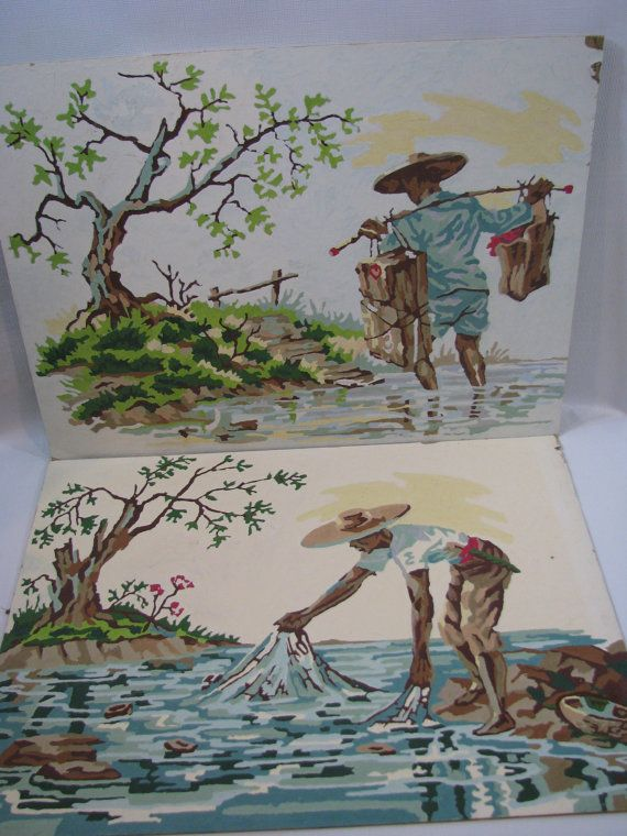 Vintage Asian Fisherman Farmer Paint by Number Set of by heckamom