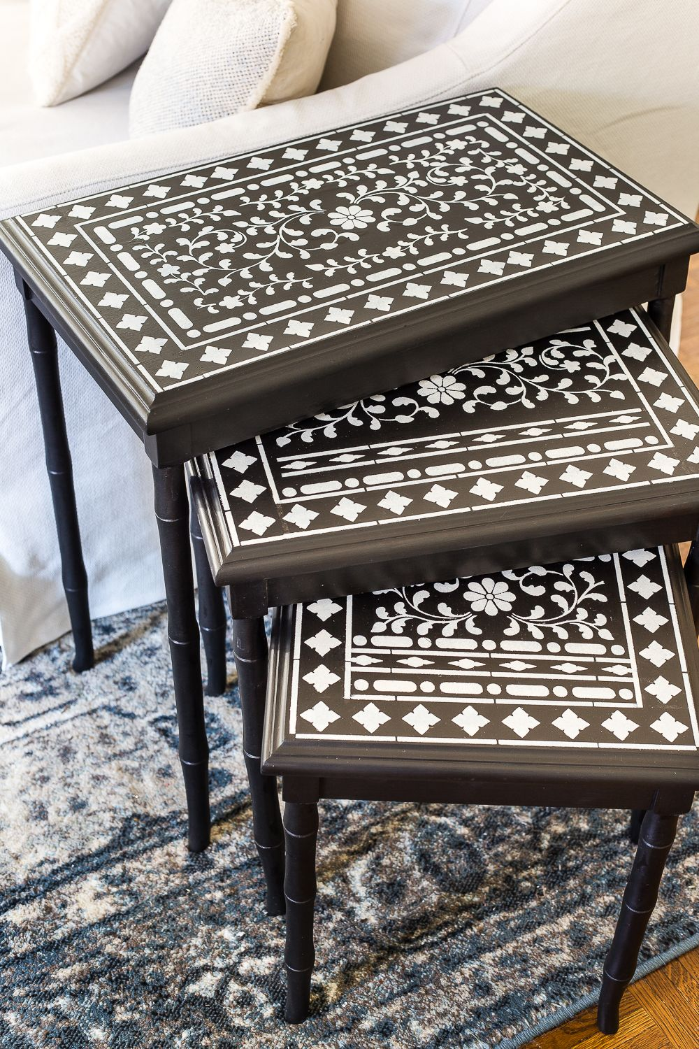 Faux Bone Inlay Nesting Tables Makeover Bless Er House Bone