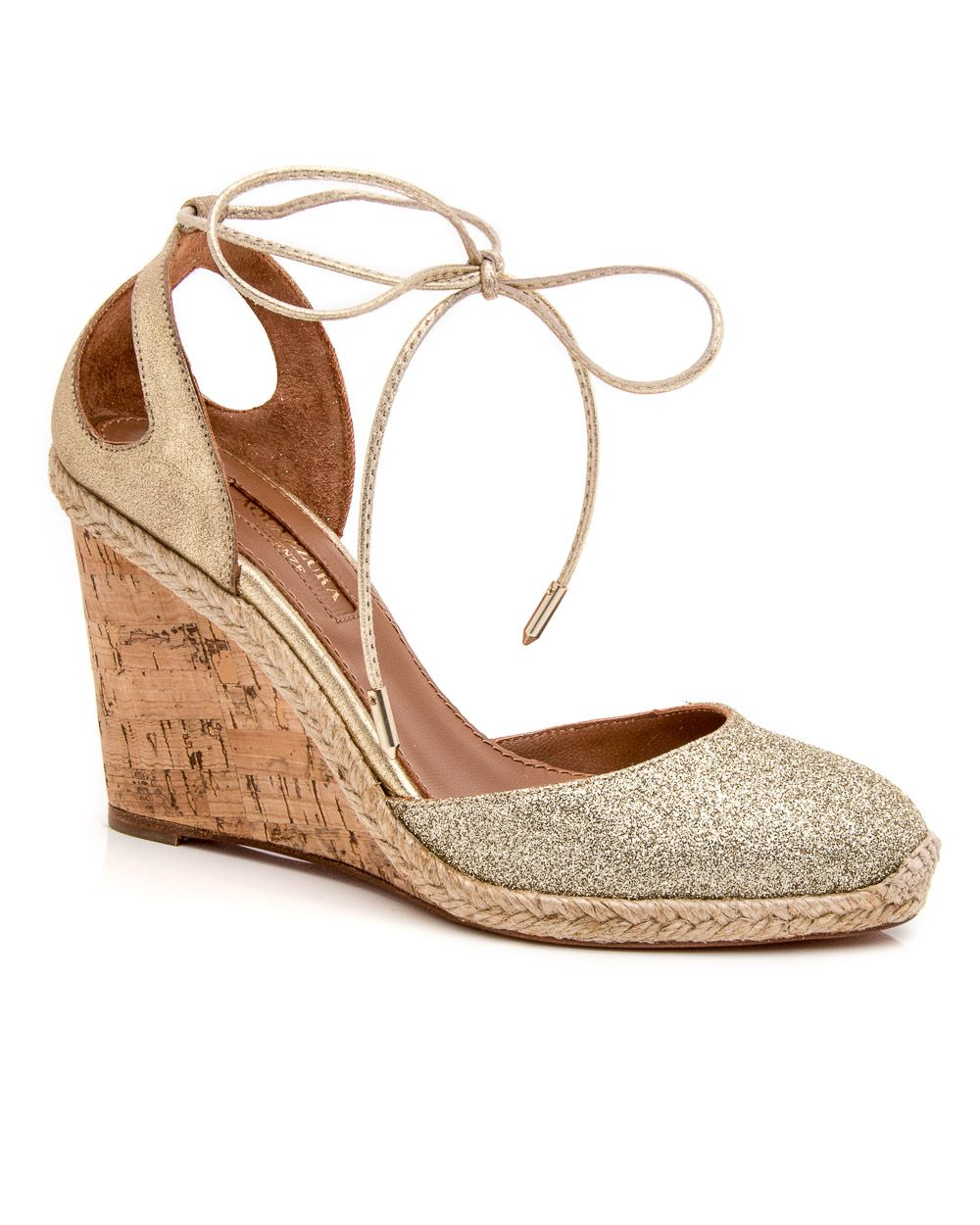 Aquazzura Metallic Glitter Wedges