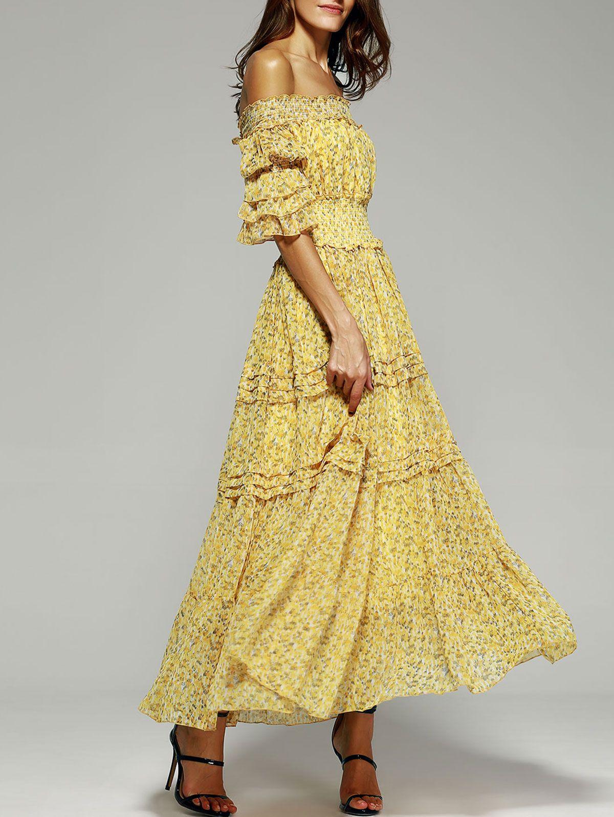 Mellow yellow maxi off the shoulder puff sleeve print dress
