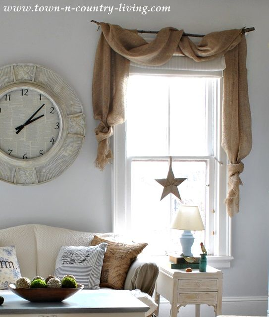 Charmant Landscape Burlap Curtain Swags Via Town And Country Living   Do These  Instead Of The Full Burlap Curtain??? DECISIONS DECISIONS