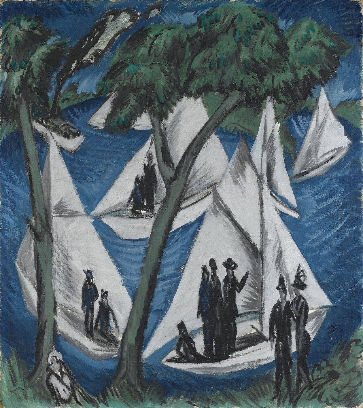 Ernst Ludwig Kirchner - Segelboote bei Grünau, 1914