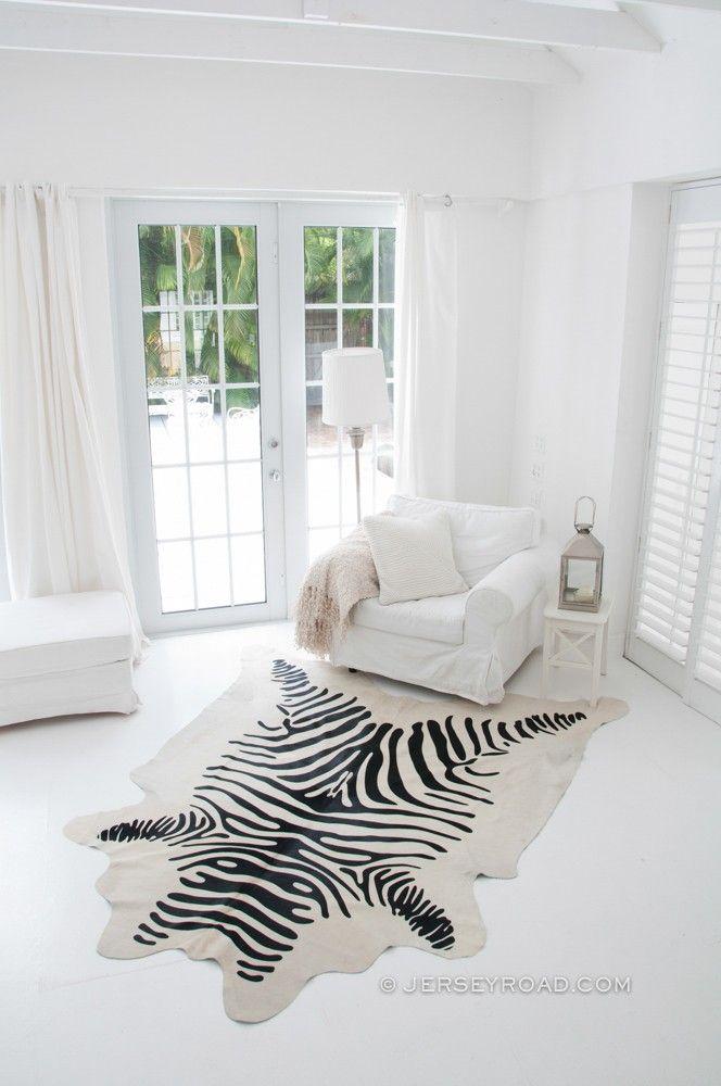 Zebra Print Cowhide Rug Off White