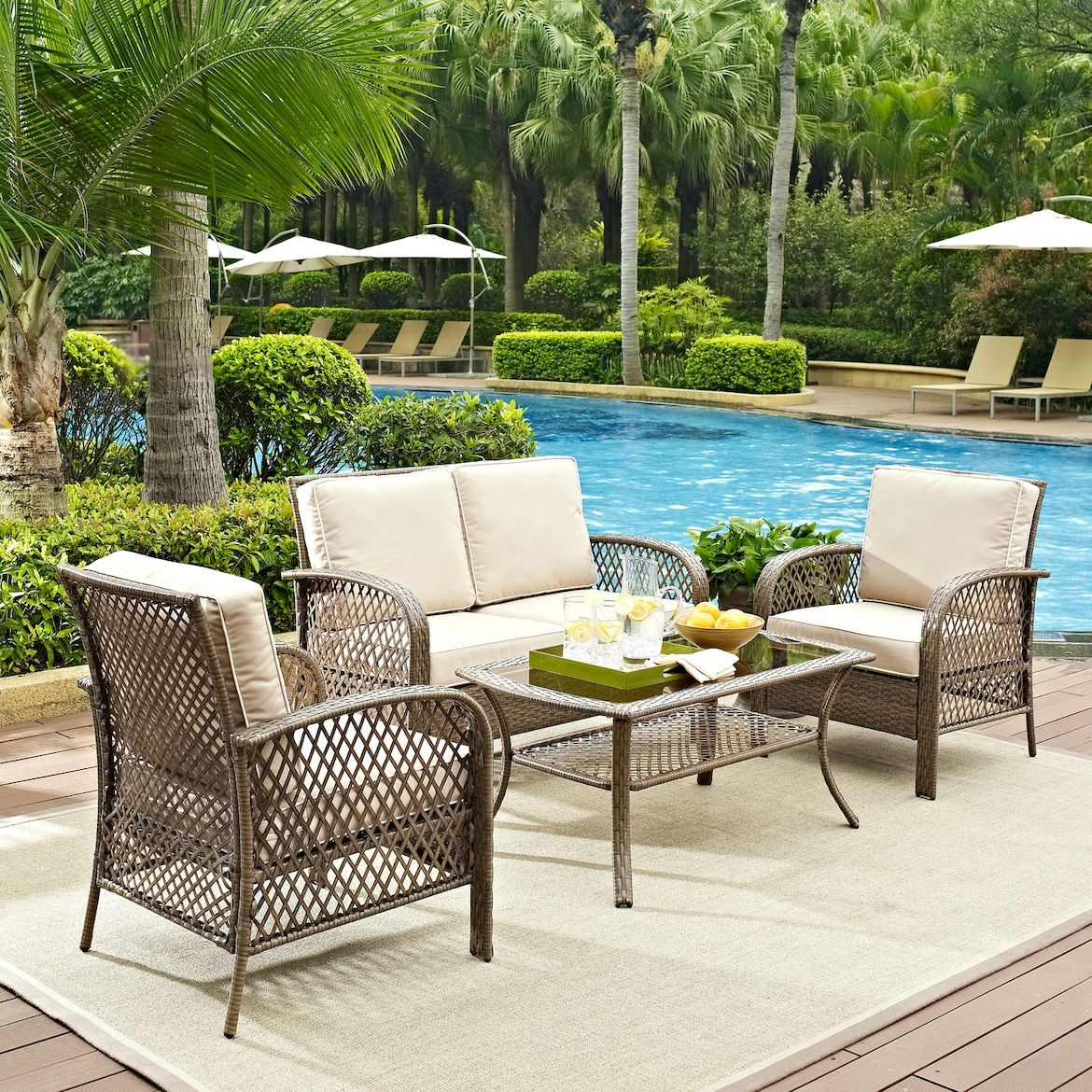 Zuma Outdoor Loveseat 2 Chairs And Coffee Table Set American Signature Furniture With Images Outdoor Wicker Seating Patio Seating Sets Patio Seating