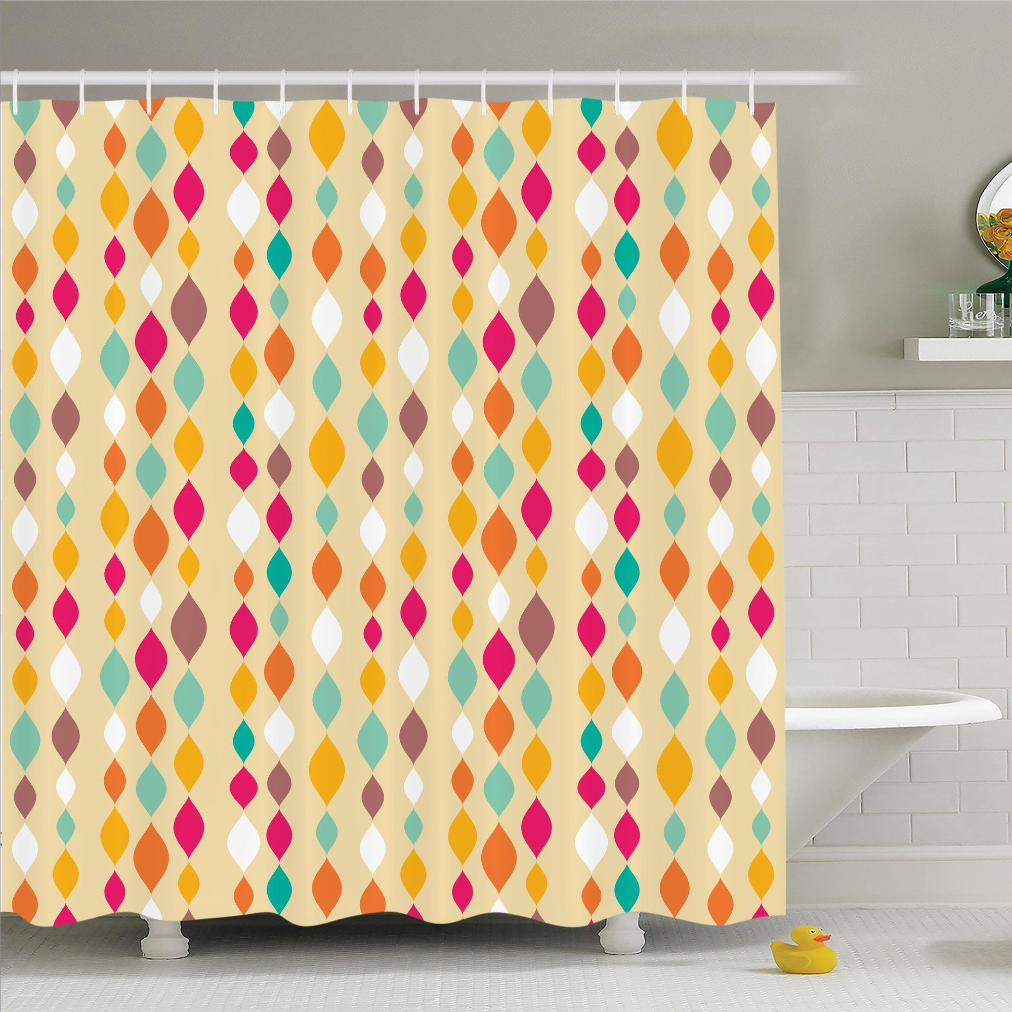 Vintage Retro Colorful Circles Shower Curtain Set Shower Curtain