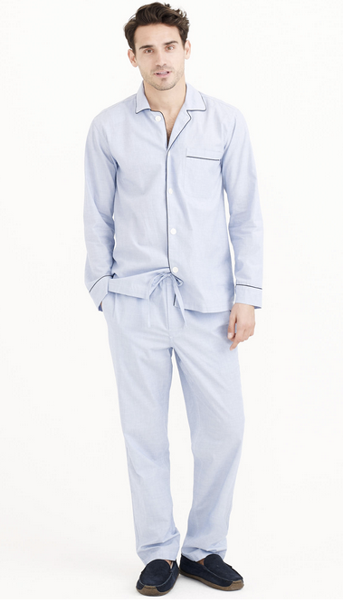 c716d72d79 Every guy needs a comfy cotton pair of pjs. Set him up with the pima cotton  Poplin Pajama Set from J Crew