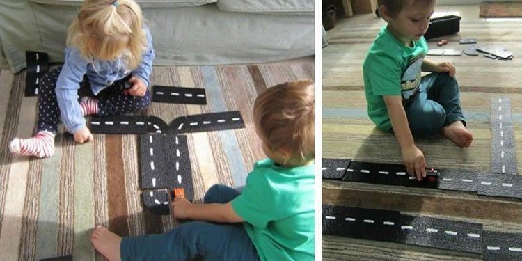 Com fer un circuit de cotxes amb una catifa de goma negre #FemiJuguem #ManualitatsJugar