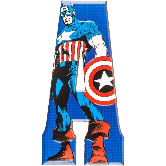 18 Quot A Captain America Marvel Heroes Embossed Tin Letter