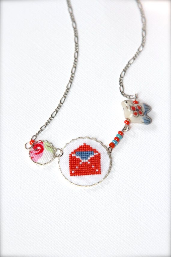 Love letter necklace - Envelope necklace - Bird pendant - Hand embroidered love necklace - Cross stitch necklace - Coral and blue - Unique