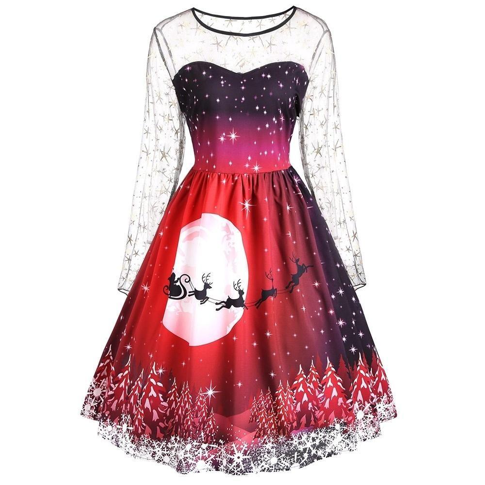 6205b374b6f69 Christmas Reindeer Print Long Sleeves Mesh Insert Dress 4337 ...