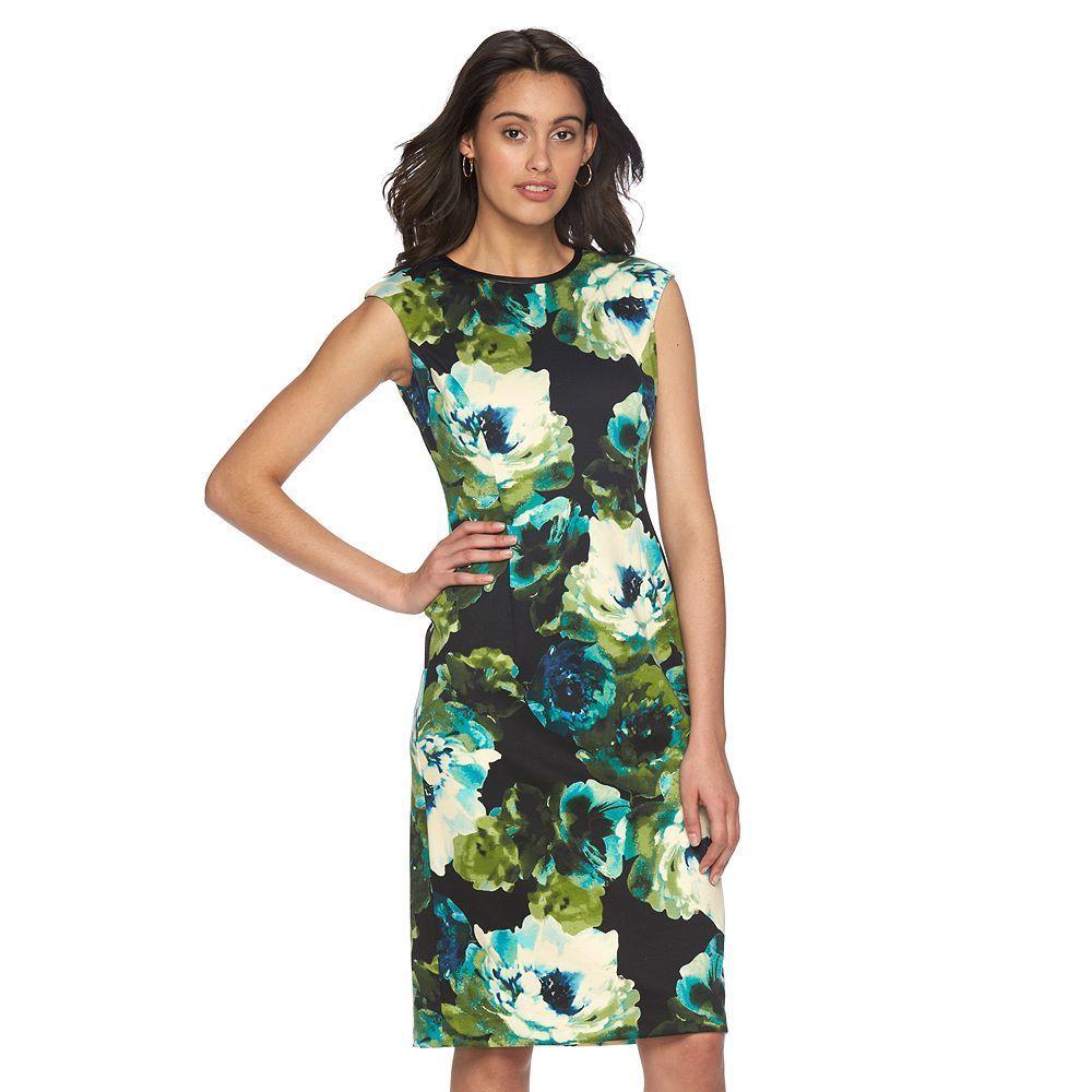 Petite Suite 7 Floral Sheath Dress, Women's, Size: 10 Petite, Green Oth