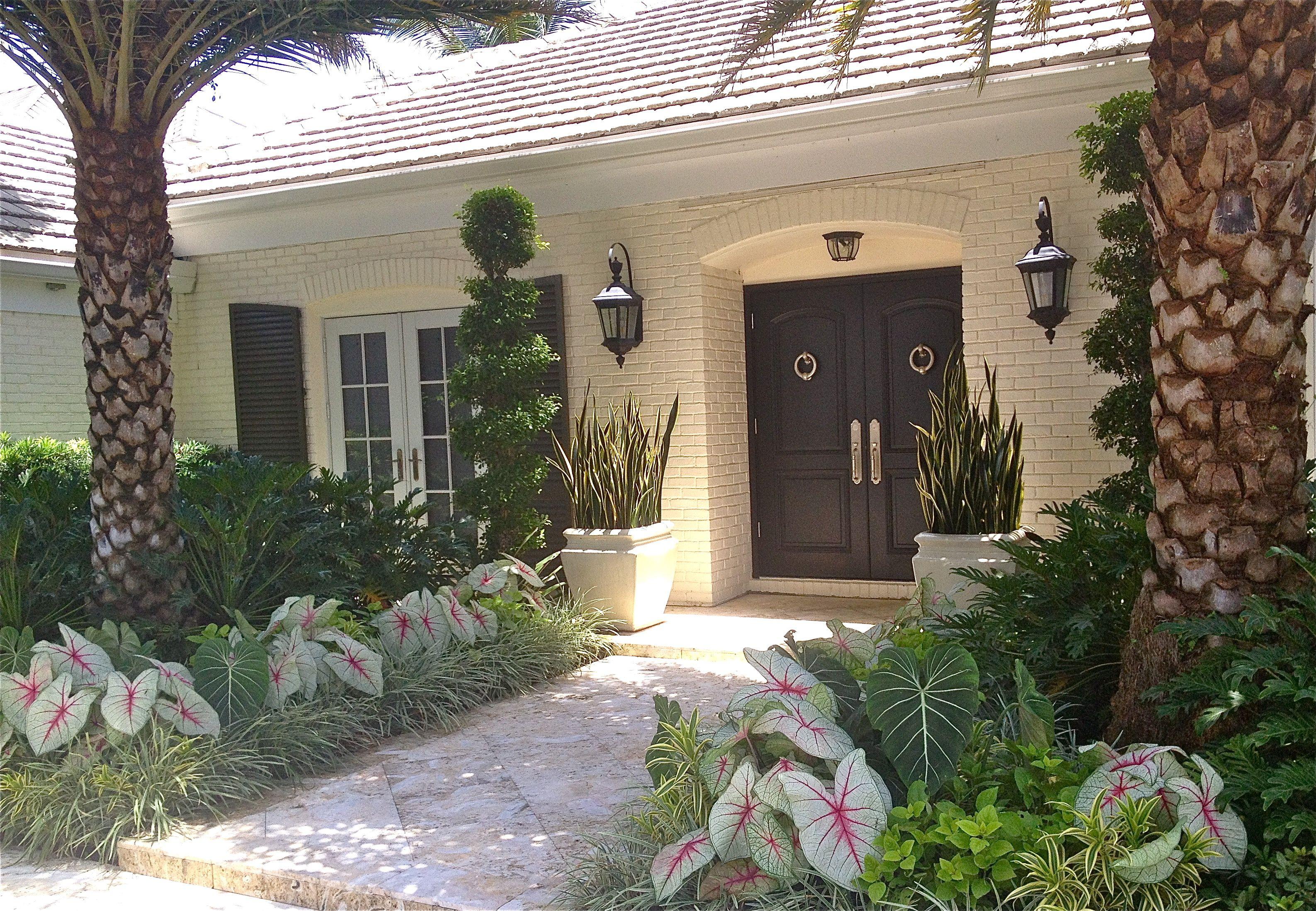 Beautiful Elegant Florida Home Front Door Landscaping