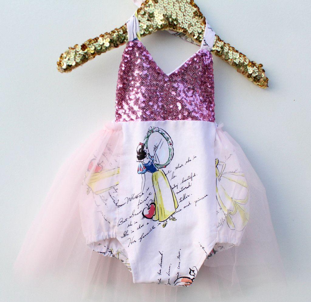 fad5ccf9a A Princess Story Snow White Pink Sparkle Tutu Romper ...