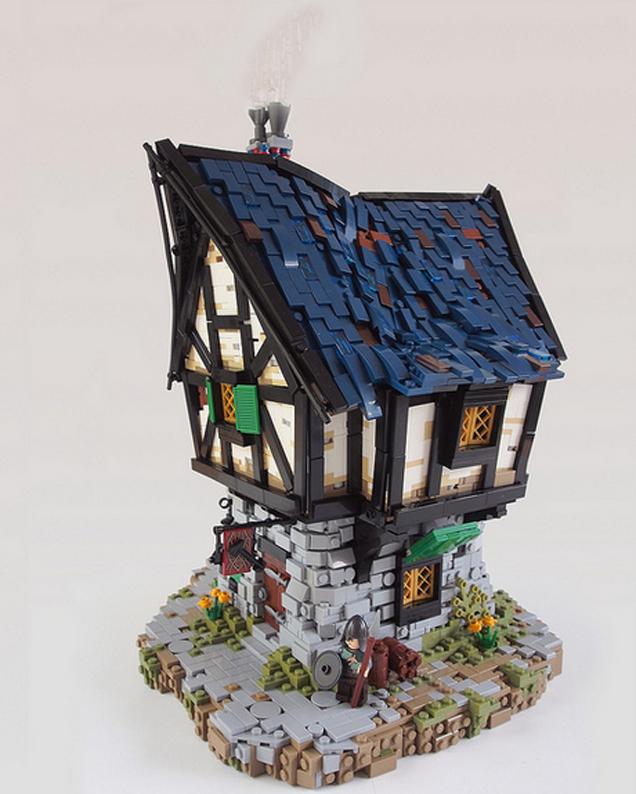 lego ideas blacksmith by legonardo davidsy i love the dark blue used as slate for the roof - Slate Castle Ideas