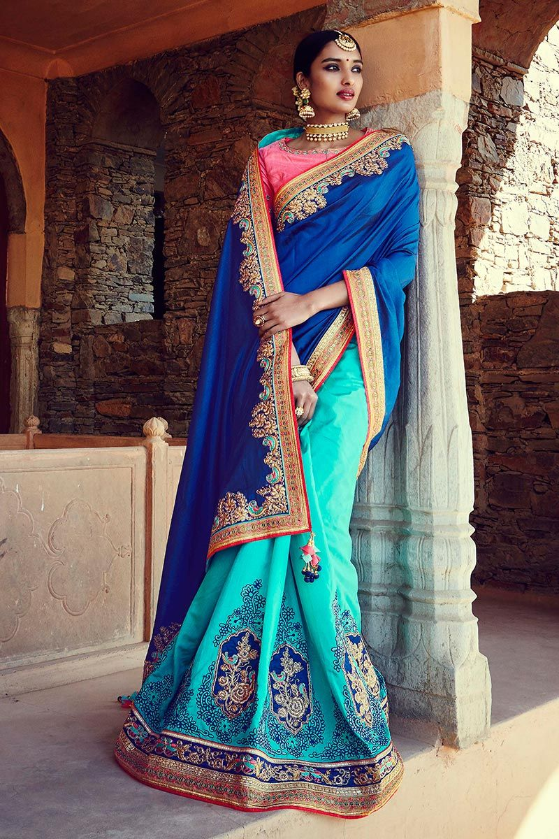 Photo of Blue Color Heavy Traditional Wedding Saree in Tussar Silk-Silk Fabric