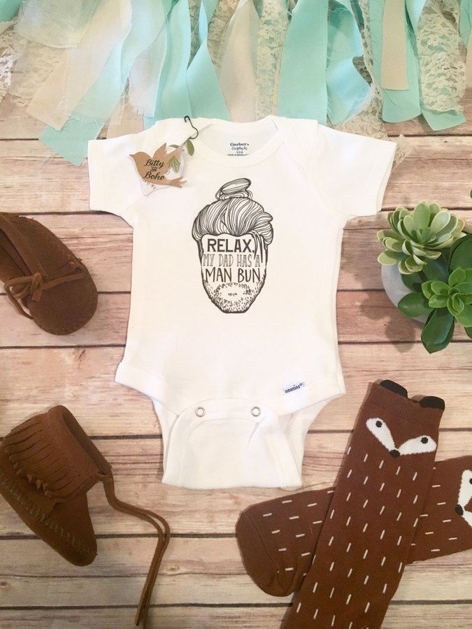 Etsy Man Bun Dad Onesie Hipster Baby Clothes Beard Daddy Cute