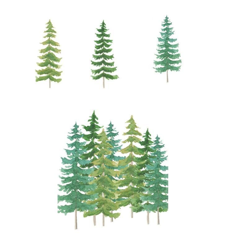 Watercolor Pine Tree Clipart Instant Download Tree Clipart Fir