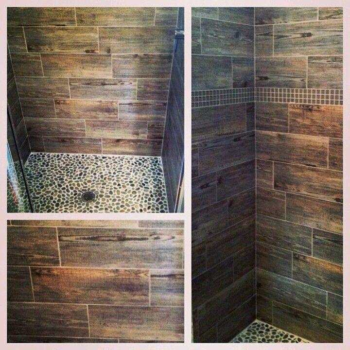 wood plank porcelain tile shower with full width bench, 2