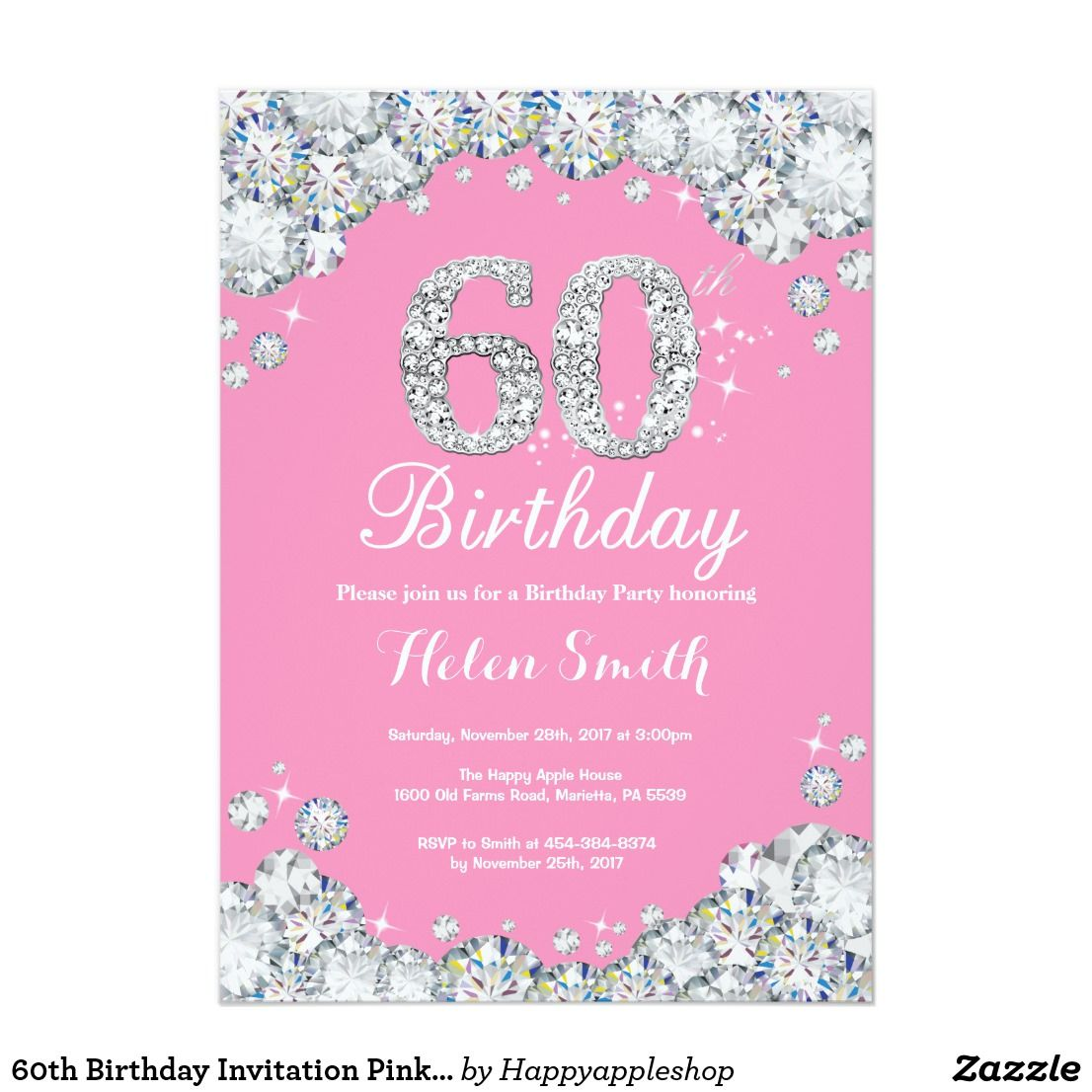 60th Birthday Invitation Pink and Silver Diamond | Zazzle.com | Pink  invitations, 60th birthday invitations, 80th birthday invitations
