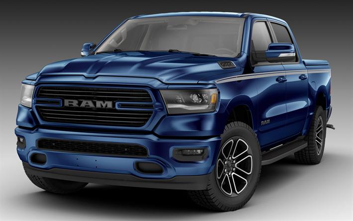 Download wallpapers Dodge Ram 1500 Bighorn, 2018 cars
