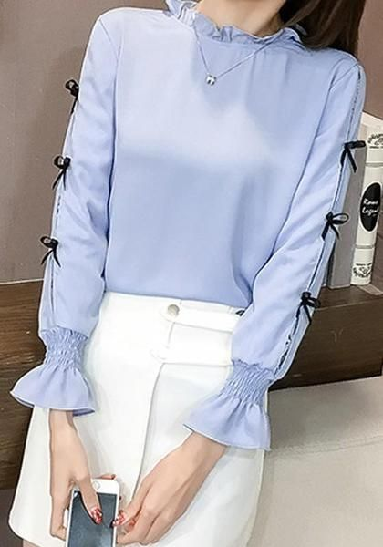 49485814665814 Blue Bow Flare Sleeve Sweet Office Worker/Daily Blouse in 2018 ...
