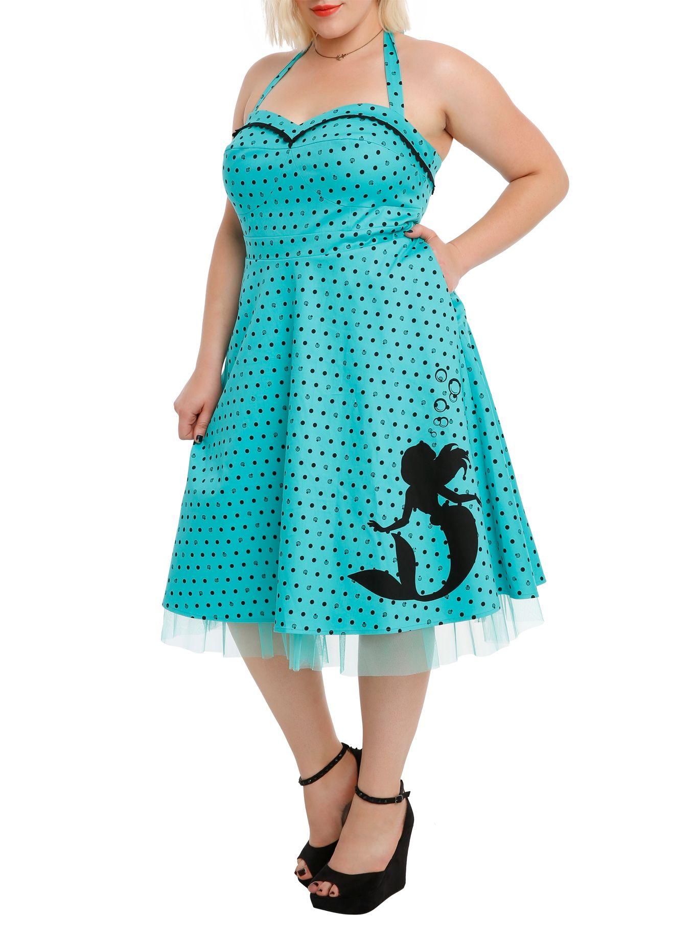 Disney the little mermaid shell dot print dress plus size