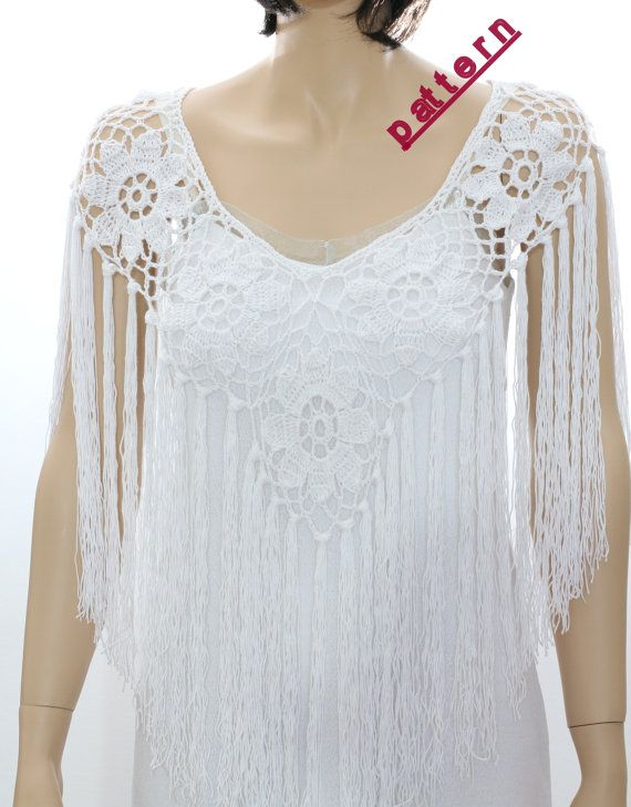 Wedding poncho cape pattern Crochet Pelerine pattern Fringe poncho ...