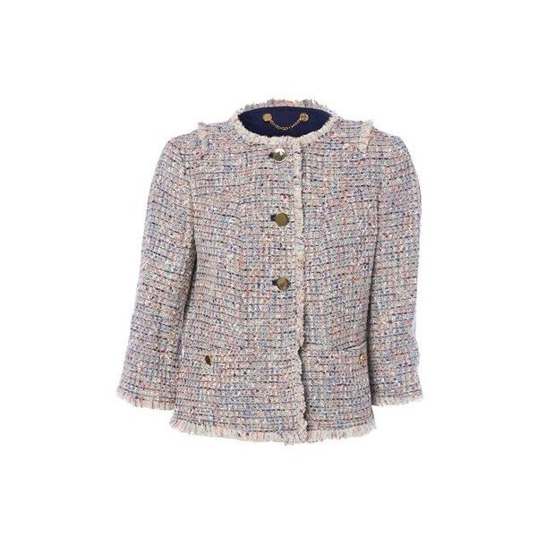 TORY BURCH 'Chanel' Jacket ($250) ❤ liked on Polyvore featuring outerwear, jackets, multi, button jacket, short jacket, tory burch and tory burch jacket