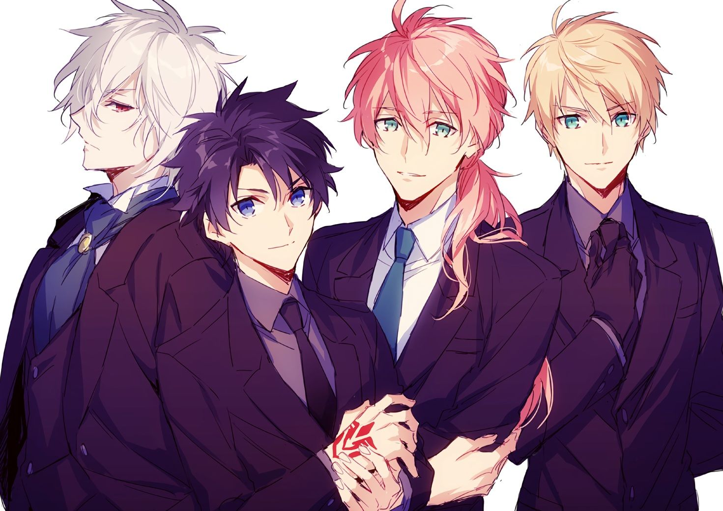 All Male Aqua Eyes Black Hair Blonde Hair Blue Eyes Edmond Dantes Fate Grand Order Fate Series Fujimaru Ritsuka Male Gloves Gray Anime Boy Fate Anime Guys