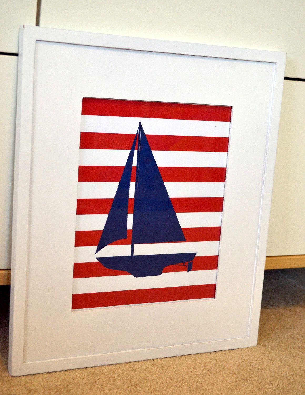 Nautical nursery 11 x 14 wall art- Baby boy room- Sailboat print- Teen boy room- all colors available- baby shower gift. $12.00, via Etsy.