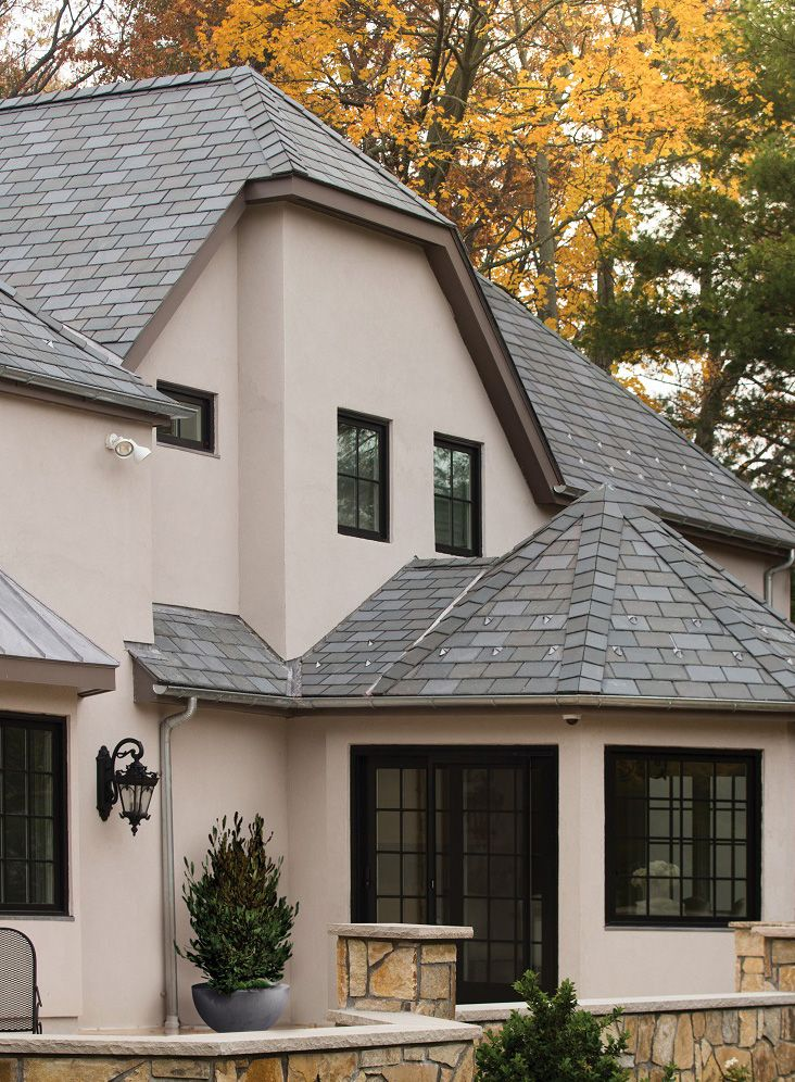 Roof Material Engineered Slate Roof Color Brownstone Color Blend Mixed With Metal Roofing For More Roofing Idea Stucco Homes House Exterior Roof Colors
