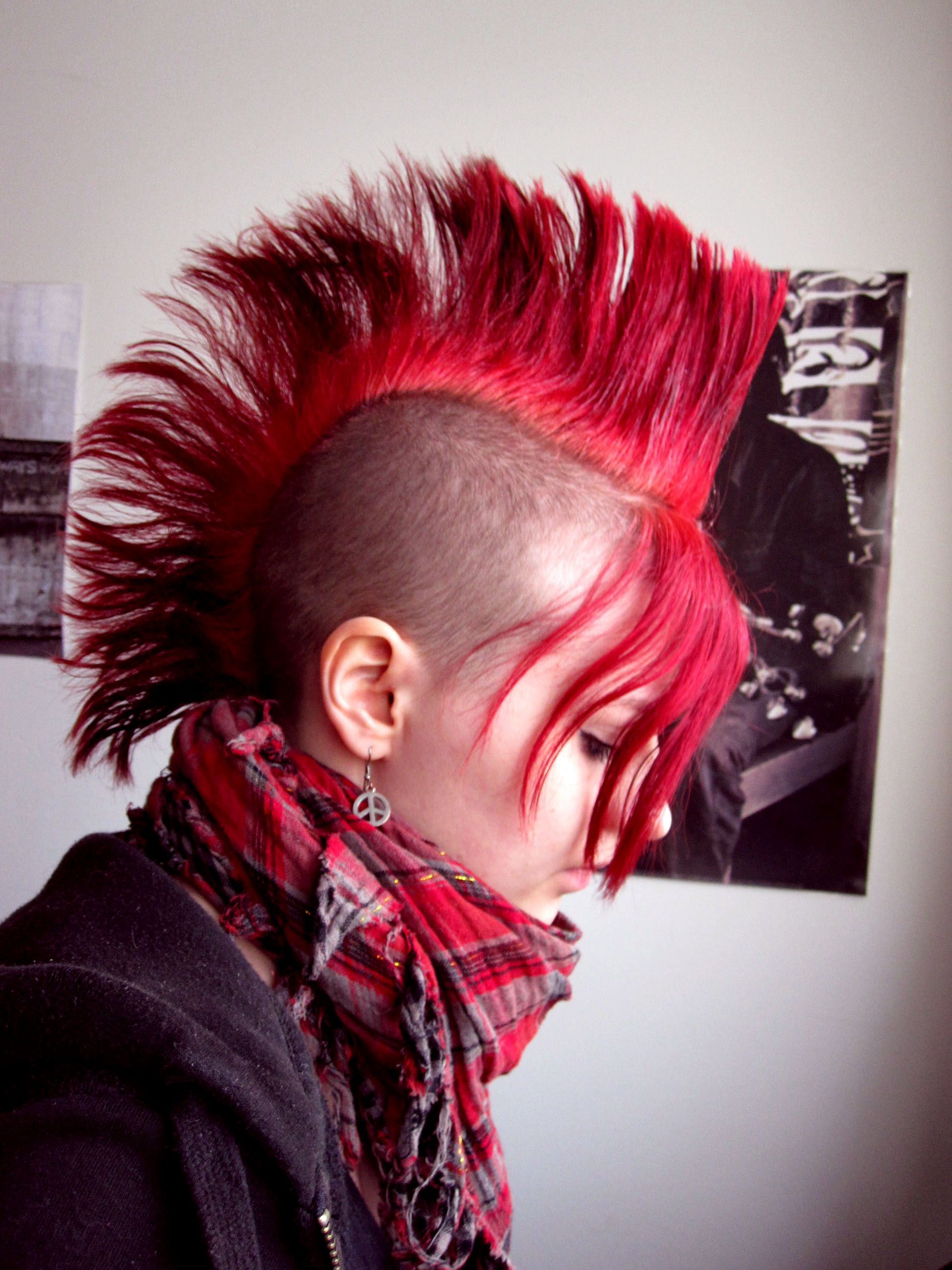 Red mohawk hair in pinterest hair hair styles and punk
