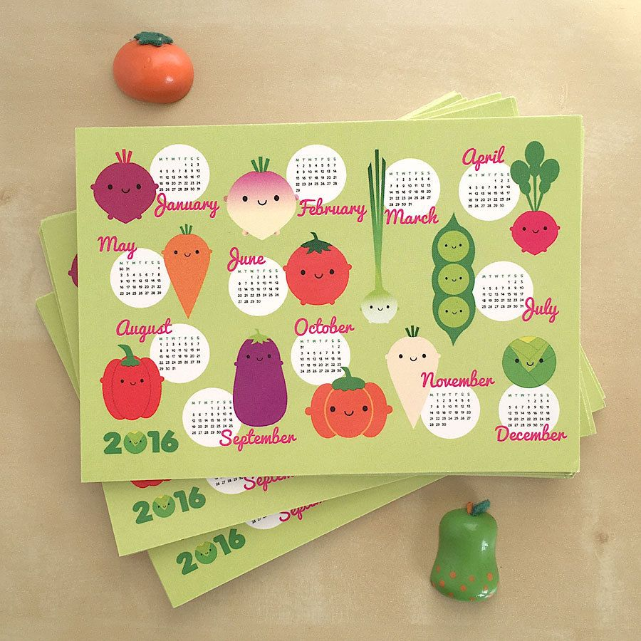 2016 Calendar Postcards - Kawaii Seasonal Vegetables (1.00 GBP)