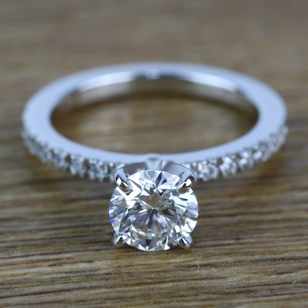 Petite pave diamond engagement ring ct joyas pinterest