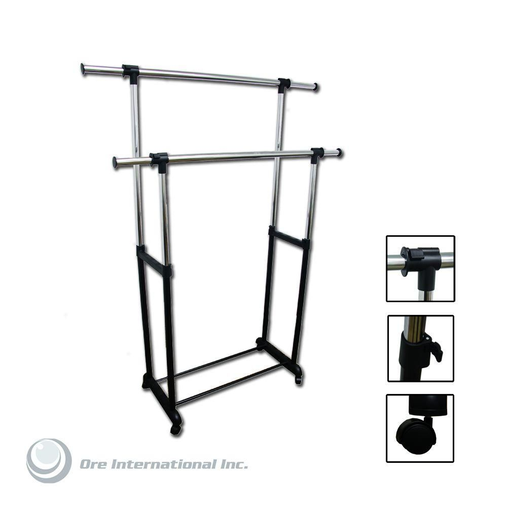 17 25 In X 62 75 In Double Levers Portable Wardrobe Clothes Rack