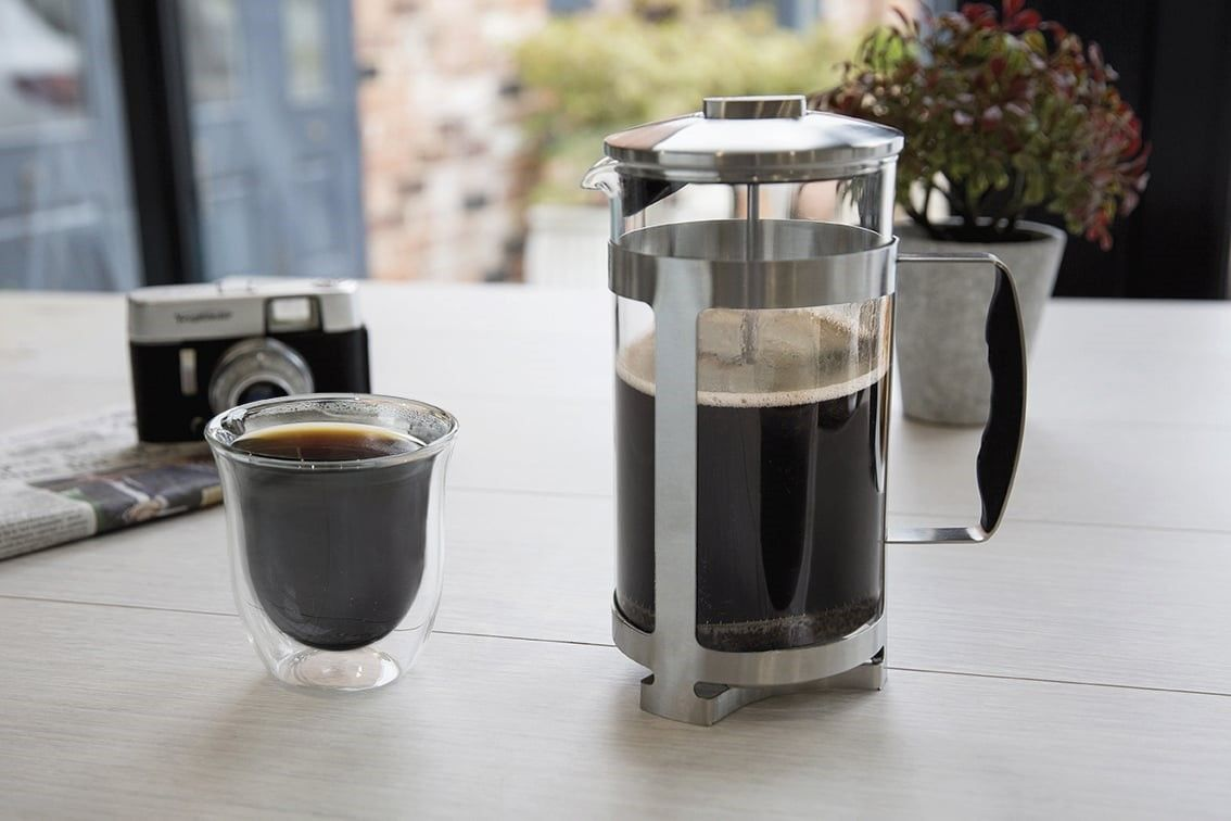 French press cafetiere steel coffee maker free filters