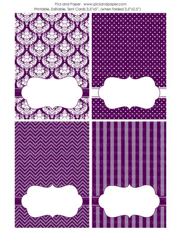 Printable Tent Cards Purple Damask Printable Tent Cards For Food Guests Thank You Tent Cards Cards Printable Designs