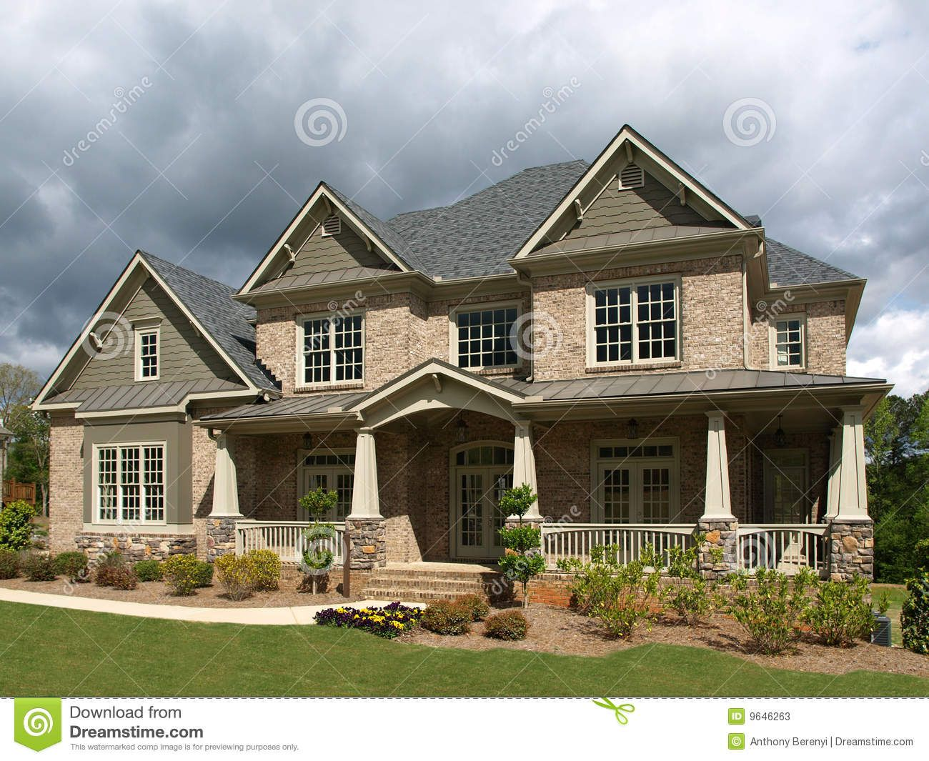 luxury model home exterior stormy weather stock photos image 9646263 - Luxury Homes Exterior Brick
