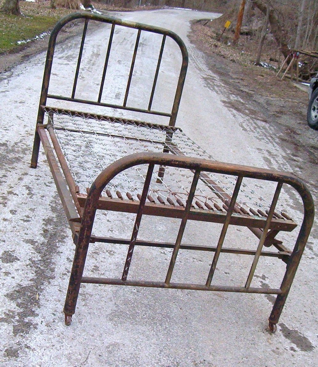 Antique Iron Metal Twin Bed With Original Side Rails And Box