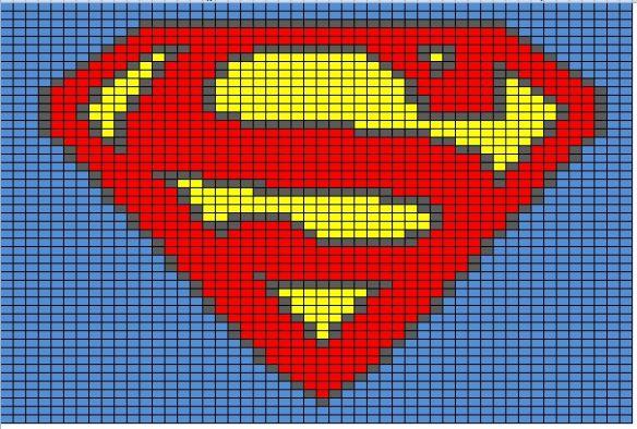 Superhero Logo Charts | Manta, Tejido y Bordado